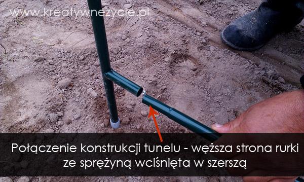 Połączenie rurek stelażu tunelu