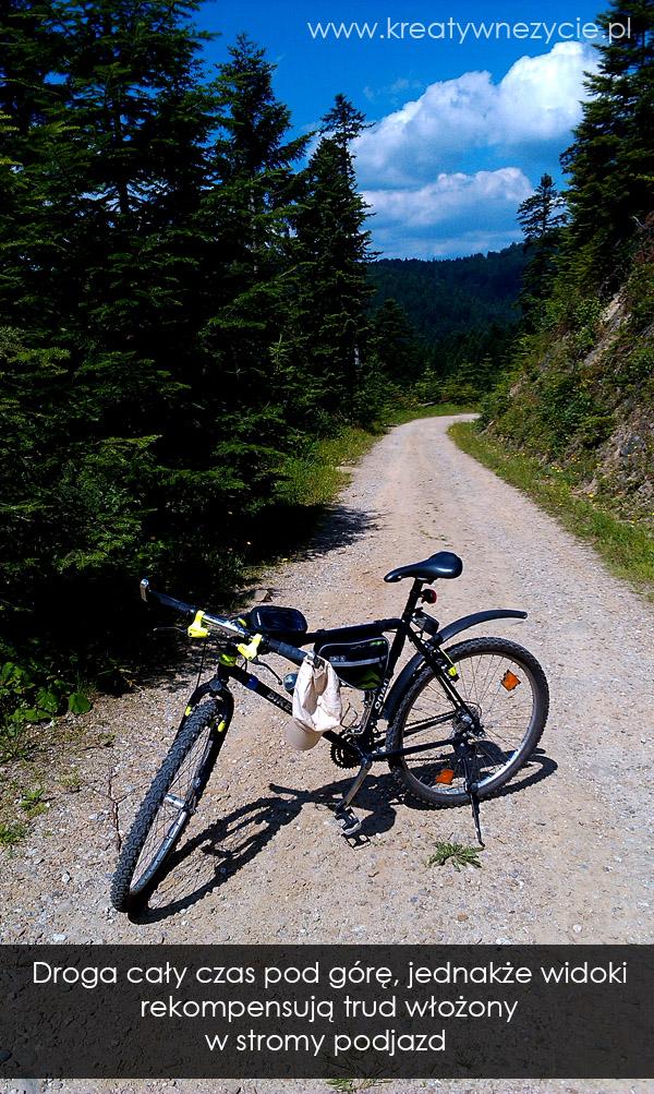 Podjazd szlak rowerowy dolina potokow