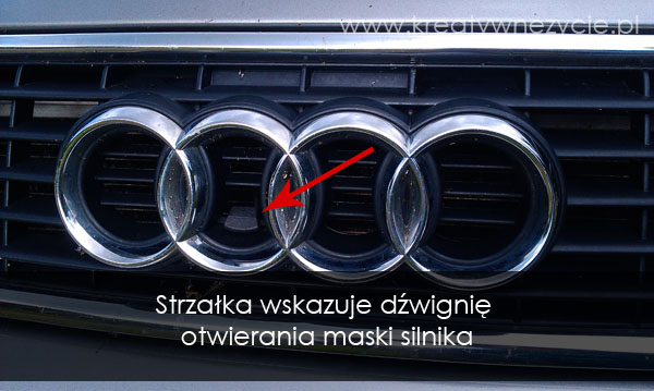 Dźwignia otwierania maski silnika audi a4