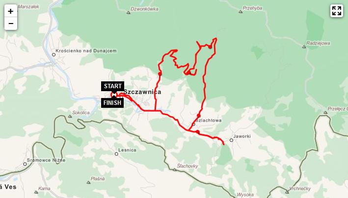 szczawnica rowery mapa