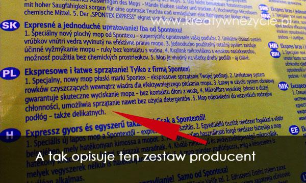 Mop Spontex opis producenta