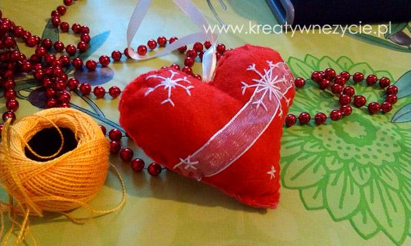 Serce z filcu na choinkę