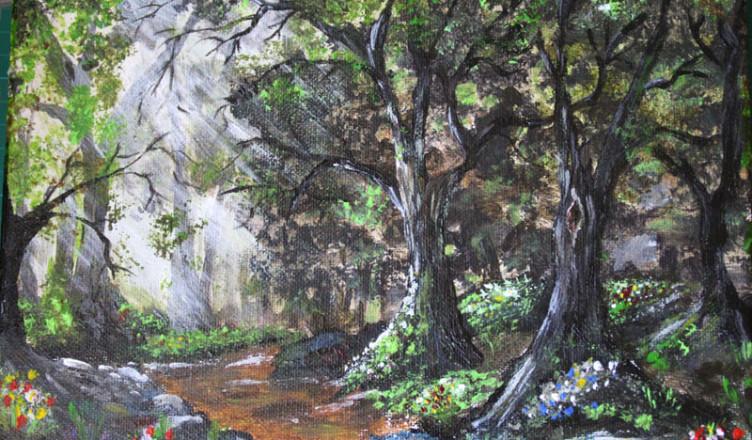 Las obraz akrylowy