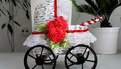 Papierowa wiklina jak zrobić wózek