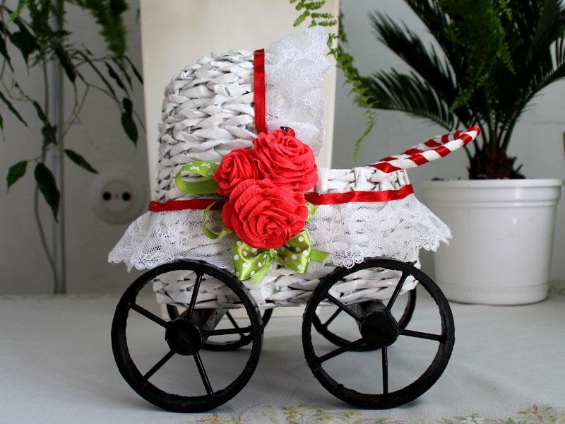8ec081f2578b9d Wózek z wikliny papierowej na ślub chrzest – Kreatywność to radość ...