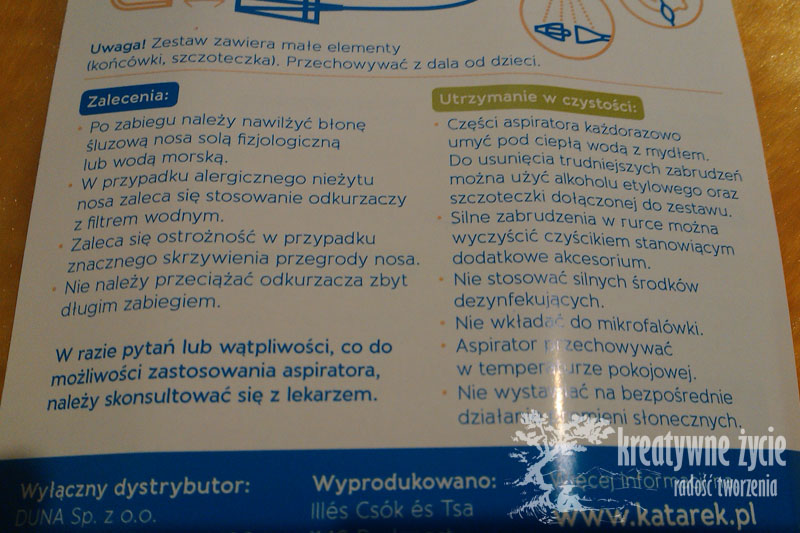 Recenzja aspiratora kataru - Katarek Plus
