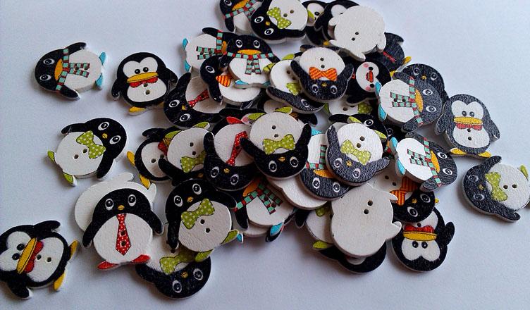 Guziki pingwiny scrapbooking