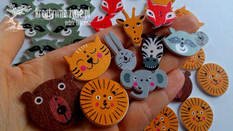 Mix guzików w kształcie zwierząt