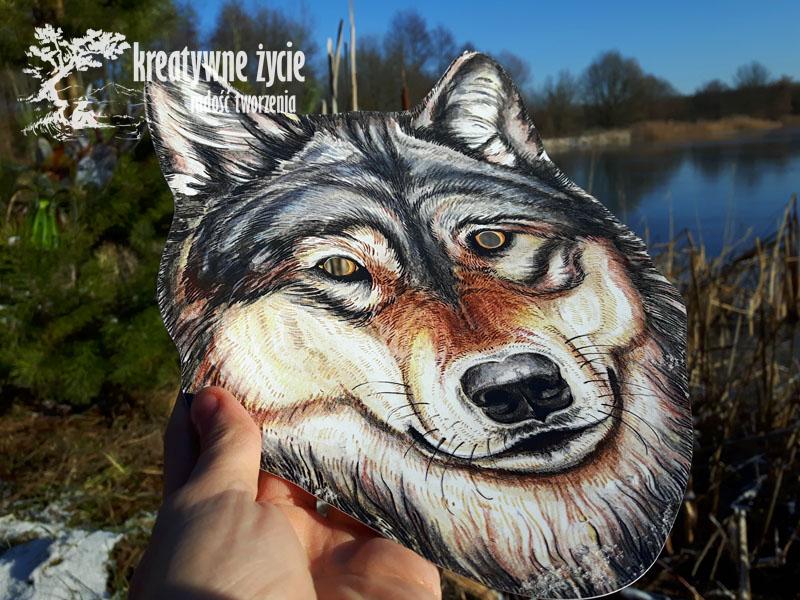 Maska papierowa wilka
