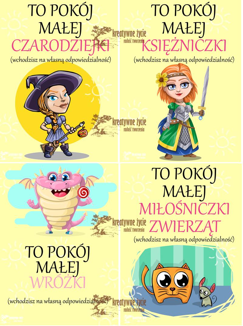 Plakaty na drzwi dla córeczki