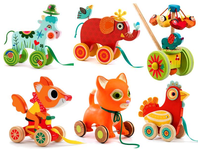 Drewniane zabawki do ciągania