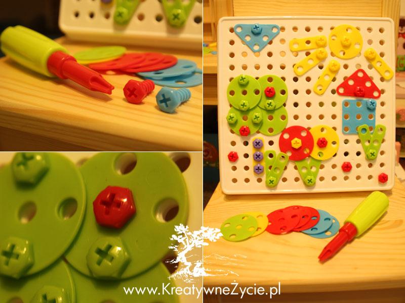 Fantastycznazabawka: ćwiczy cierpliwość, trenujezdolności manualne, rozwija sprawność rączek i paluszków, uczy logicznego myślenia, rozwija kreatywność, uczy kolorów i kształtów, pozwala maluchowi poczuć się jak mały konstruktor,