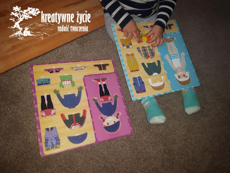 Ubierz chłopca i dziewczynkę - puzzle drewniane